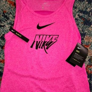 NWT girls Nike dry & slim fit pink & black tank M